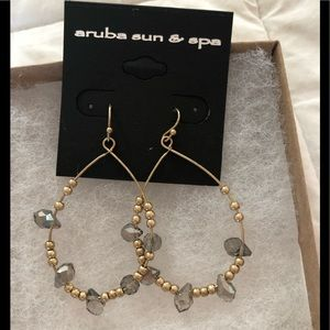 Gold Bead and crystal Drop Wire earrings